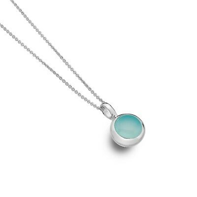Gerade Blue Chalcedony Pendant Solid Silver Real Stone 925 Hallmarked All Chain Lengths Wohltuend FüR Das Sperma