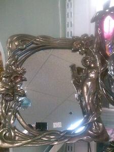 Art Nouveau Faux Brass Mirror