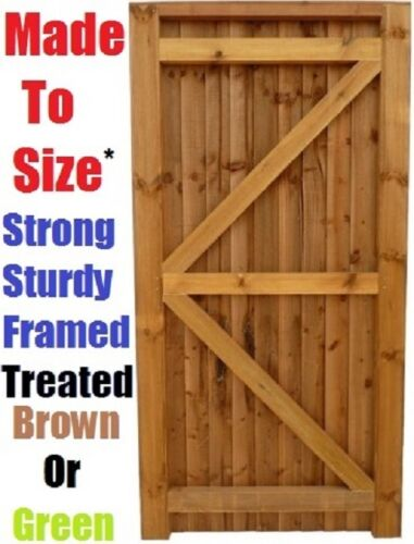 Treated Brown Closeboard Feather Edge Garden Gate Strong /& Solid