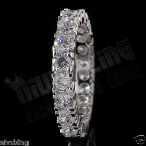 18K-White-Gold-Lab-Diamond-Wedding-Engagement-Band-Eternity-Women-Promise-Ring