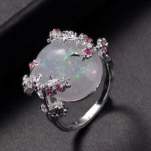 925 Silver Ring Women Jewellery Wedding Fire Opal Plum Flower Party Size 6-10