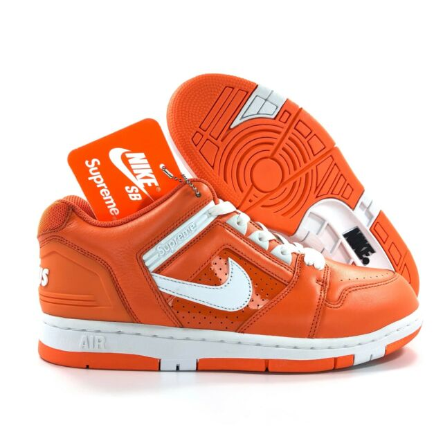 Nike SB AF2 Air Force 2 Low Supreme Orange Blaze White AA0871 818 Men's 9