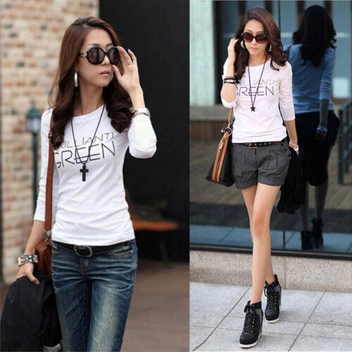 Fashion Women Ladies Off Shoulder Cat Love Prints Shirt Long Sleeve Tops Blouse