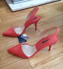 ZARA PEACH / SALMON POINTED VAMP HIGH HEEL SLINGBACK SHOES, SIZE UK 4 / EUR 37.