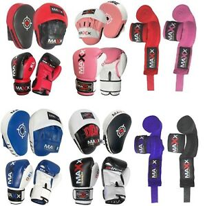 NEW-BOXING-GLOVES-amp-LEATHER-CURVED-FOCUS-PADS-HAND-WRAPE-MMA-Boxing-punchbag