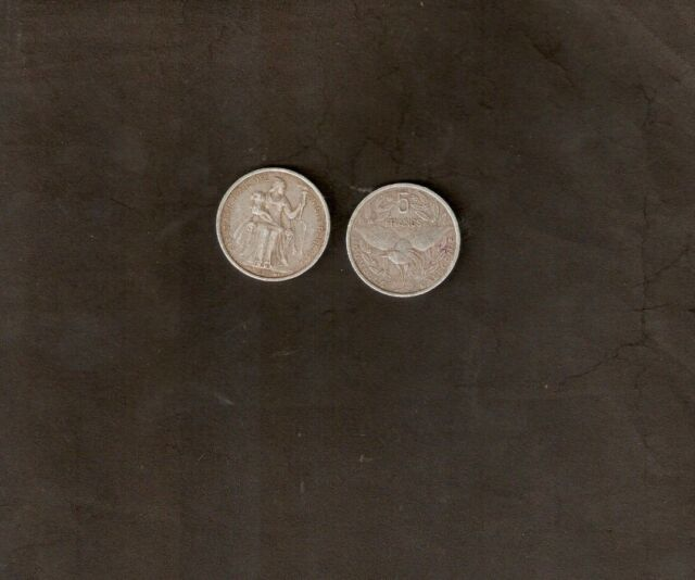 NEW CALEDONIA 5 FRANCS KM4 1952 USED BIRD LIBERTY TORCH CURRENCY MONEY COIN