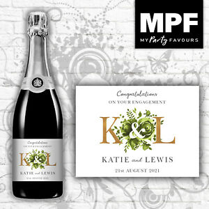 Personalised Engagement Champagne/Prosecco Bottle Label - 5 colour options (gld)