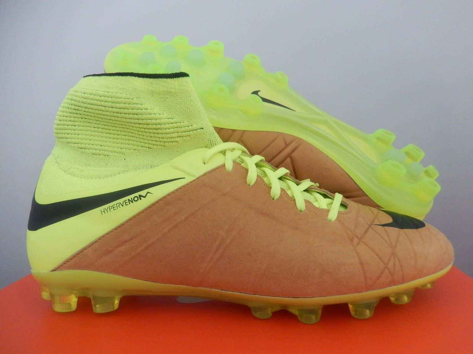 NIKE HYPERVENOM PHATAL II 2 LTHR LEATHER AG-R BROWN-VOLT SZ 9 [747499-707]