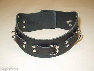 Nieten von LWPH anatomisch schwarzes Leder Halsband mit 3 Ringen O-Ring