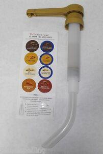 1/2 oz. TORANI Coffee Syrup Sauce PUMP Fits 64oz. & 1/2 Gal wide mouth bottles