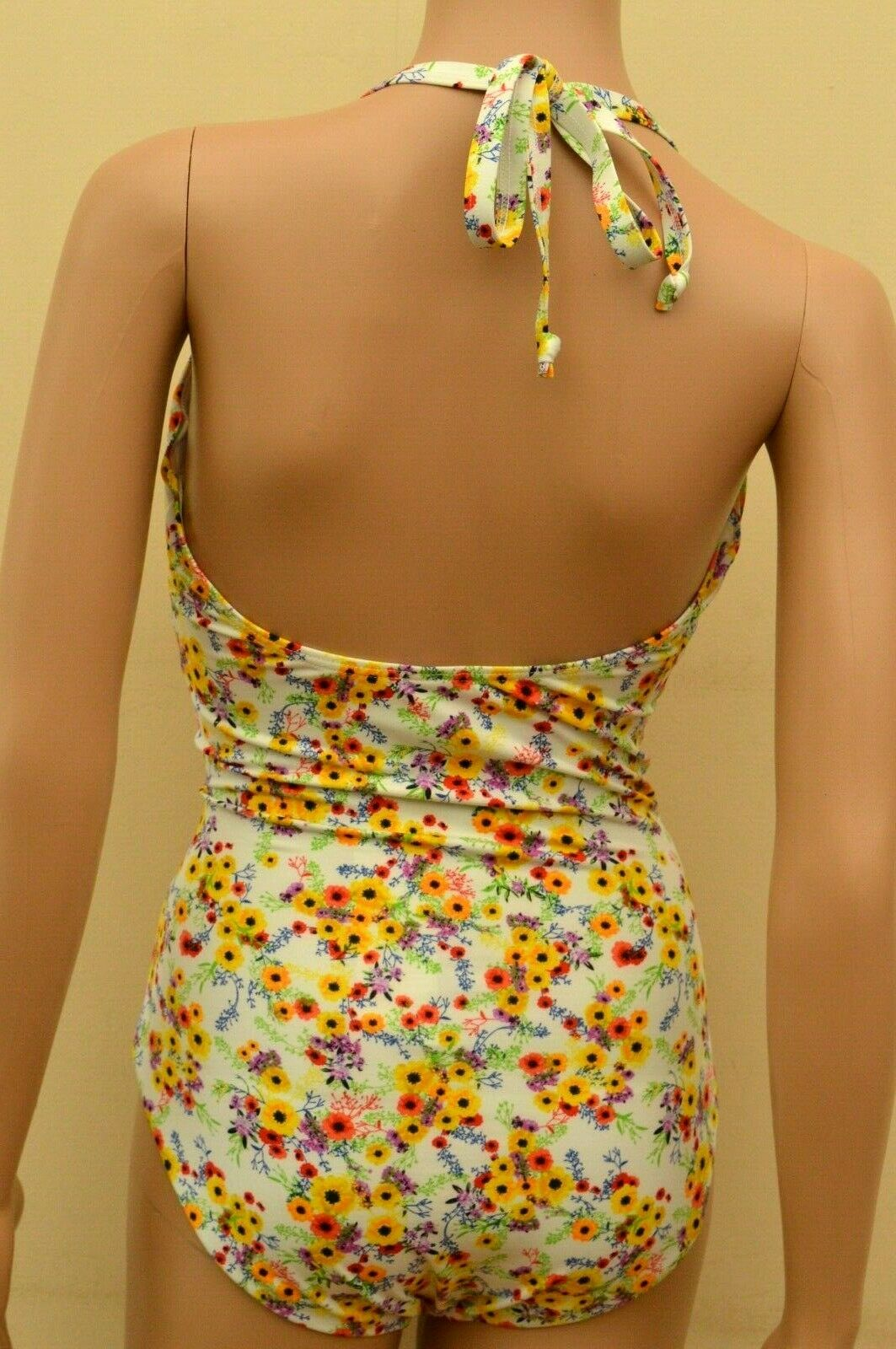 New Next White Mix Floral Underwired Tummy Control Swimsuit Sz 32FF 36E