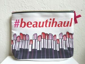 7a1c2f7f259 Details about New #Beautihaul Hot Pink Red Lipstick Print Travel Makeup  Bag/Cosmetics Clutch