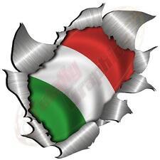 Large Metal Rip Torn Italian Italy Flag Sticker JDM Race Car Van Vespa Scooter