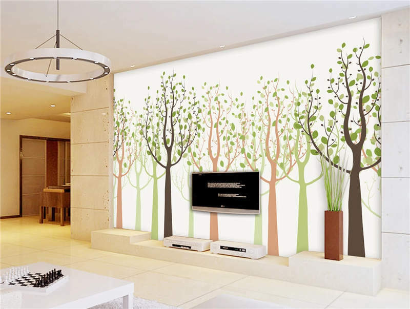Happy Farbe Trees Full Wall Mural Photo Wallpaper Printing 3D Decor Kid Home