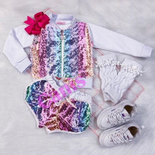 UK 2PCS Kids Baby Girl Autumn Outfit Sequins Zipper Pullover Tops Shorts Clothes