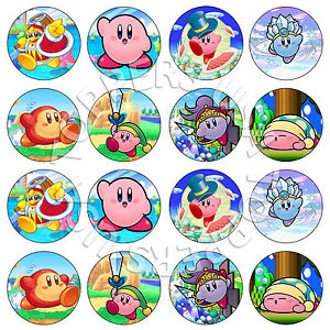 16x edible kirby birthday party cupcake toppers wafer paper 4cm