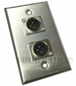 Adaptable Lot De 3 - 2-port Double Socket Xlr Mâle En Acier Inoxydable Microphone Mic Plaque Murale-afficher Le Titre D'origine