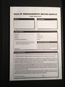 used car invoice for the sale of scrap or unroadworthy vehicles