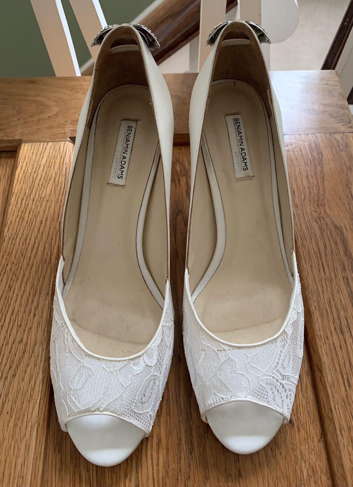 Beautiful Benjamin Adams Bridal Evening Shoes EU 41 UK7.5 Diamanté Bow Worn Once