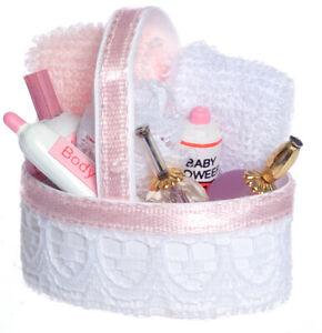 Miniature Dollhouse ~ Mini Pink /& White Lace Bath Bathroom Accessory Basket