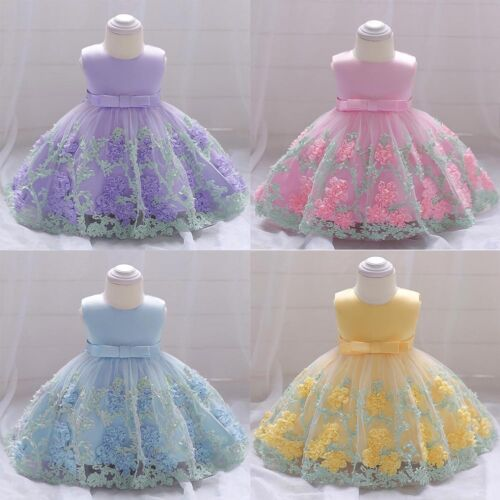 Toddler Baby Flower Girls Baptism Wedding Birthday Party Tutu Ball Gown Dress