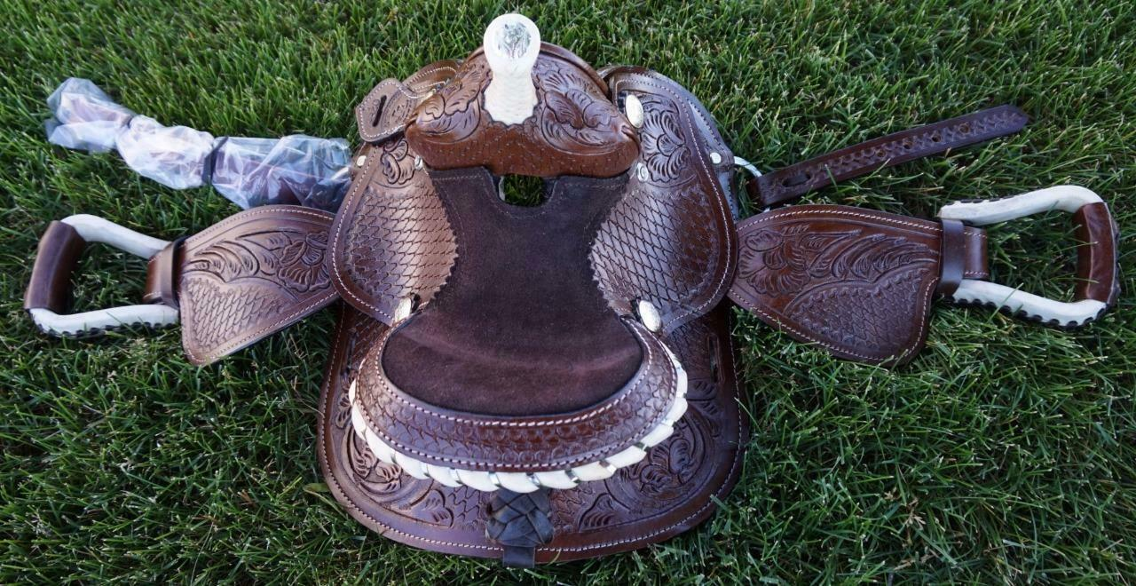 7   Tan Oak Lf Fully Tooled Leather Western Kid Mini Pony Saddle Showman Dbl T  best service