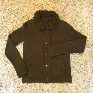 Gap Womens 100 Wool Cardigan Sweater Boucle Collar Olive Green