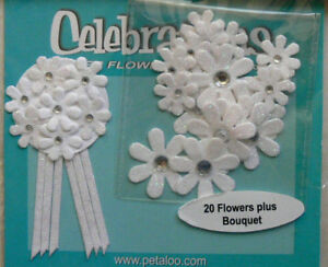 CELEBRATION-20-Flower-Pk-PAPER-Daisies-15-25mmAcross-Bouquet-37x70mm-Petaloo-F