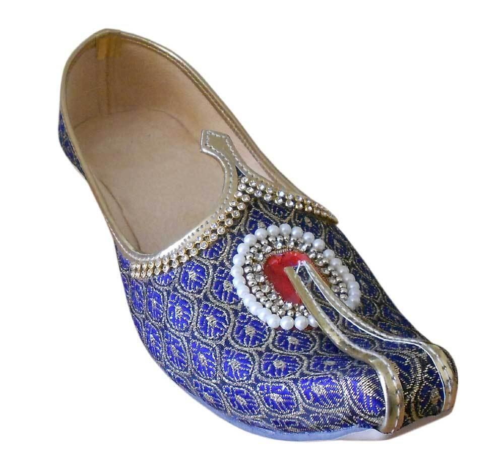 Men shoes Handmade Jutties Indian bluee & gold Mojari Flat