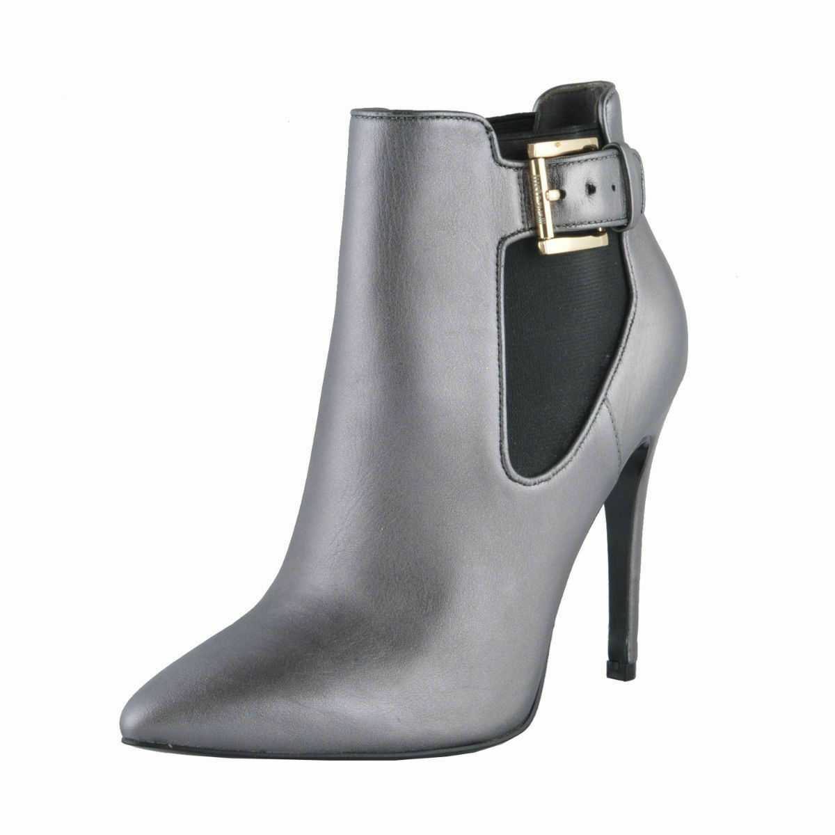Just Cavalli Damen Grau Leder Hoher Absatz Stiefeletten Schuhe Sz 6 7 8 9 10 11