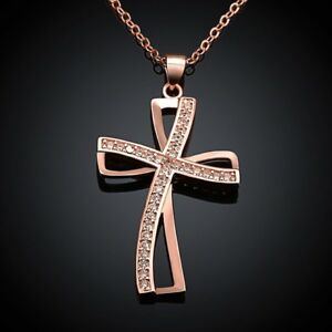 Necklace-Chain-Cross-Pendant-Zirconia-Gold-Rose-Gold-pl-Gift-idea