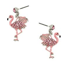 PINK FLAMINGO RHINESTONE AND ENAMEL DANGLE EARRINGS