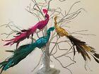 29cm Glitter Feather Peacock Clip On Peg Christmas Bird Gisela Graham Retro