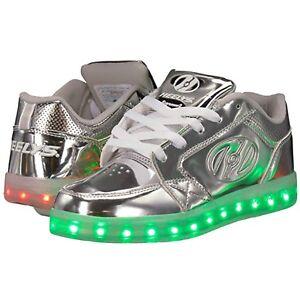 Details About Heelys Led Premium 1 Lo Light Up Shoes Silver Chrome Heelys Led Roller Shoes