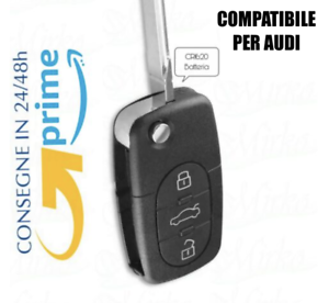 Guscio-Chiave-Cover-Telecomando-3-Tasti-CR1620-PER-AUDI-Q5-A1-A3-A4-A6-A8Q7