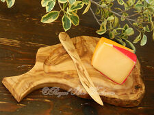 OLIVE WOOD HANDMADE CHOPPING / CHEESE / SERVING / PLATTER BOARD + BUTTER KNIFE