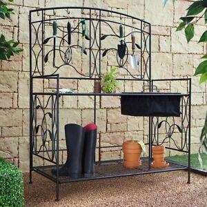 Details About Potting Table Bench Home Outdoor Garden Backyard Black Metal Work Furniture