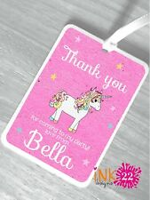 Personalised Girls Birthday Thankyou Party Bags Tags /'watercolour Unicorn/' x10