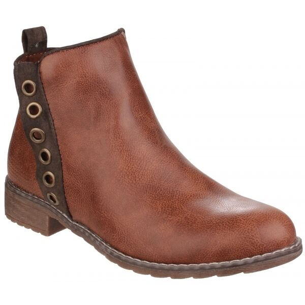 Divaz DEMI Ladies Faux Leather Side Zip Casual Comfort Ankle Boots Tan