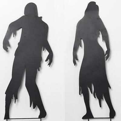 Set of 3 Spooky Shadow Silhouette Garden Stakes Haunted House or Tombstones