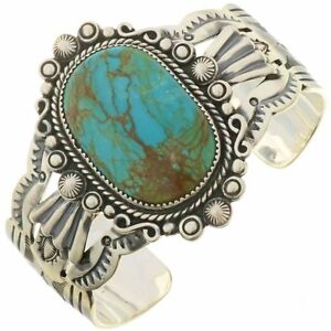 d5af0cf00a88b Details about Navajo Big Boy MANASSA TURQUOISE Bracelet Sterling Silver  Cuff Mens s8-8.5
