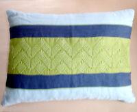 Sferra Dandy Decorative Pillow Embroidered Geometric Apple Green/blue 12x16