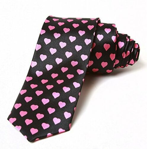 Trendy Skinny Tie 2 Inch Valentines Day Black Pink Hearts Romantic Love