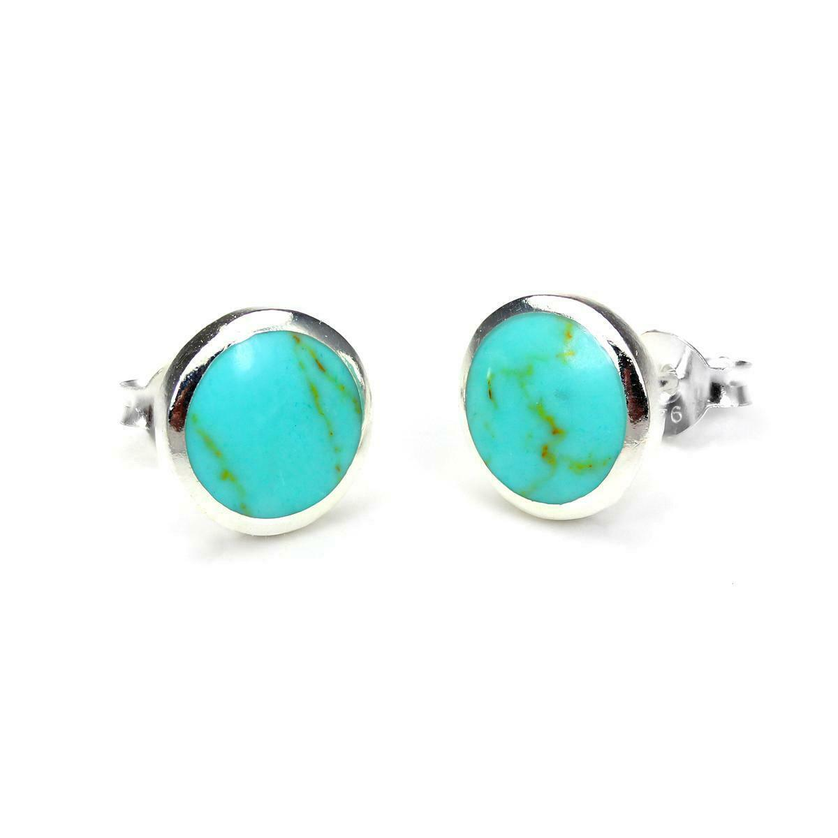 925 Sterling Silver /& Turquoise Inlay 9mm Round Stud Earrings Studs Earring