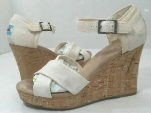 7bde2be7b17 TOMS Natural Beige Canvas X Sandals Shoes Cork Wedge Heels Women s 7 ...
