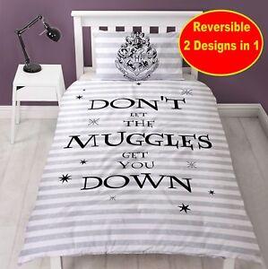Offiziell Harry Potter Spruch Einzelbett Bettwäsche Set Jungen Mädchen Kind Weiß