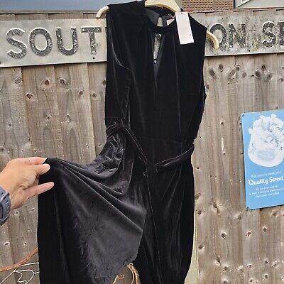Taglia 22 Nero Elasticizzato Velluto M & S Per Una Cat Suit Tuta Di Lancio Tutto In Un Unico Tasche-mostra Il Titolo Originale Giada Bianca