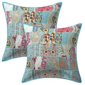 """22/"""" Square Floor Cushion Pillow Cover Turquoise Patchwork Room Decorative Throw"""