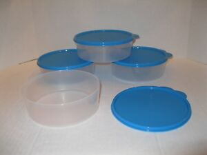 ffc287d064c4 Details about TUPPERWARE ~ SET OF 4 ~ BIG WONDERS BOWLS lunch containers ~  3 CUP ~ BLUE