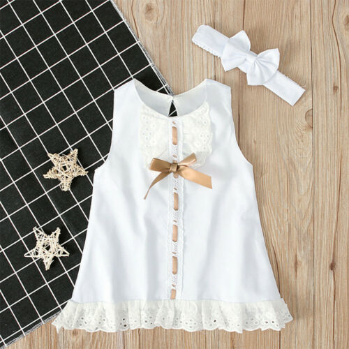 Baby Girl/'s Round Collar Pure White Lace Short Sleeve Dress Bow Headband Suit G3